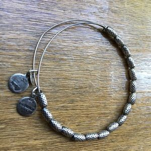 Alex and Ani textured, beaded silver bracelet